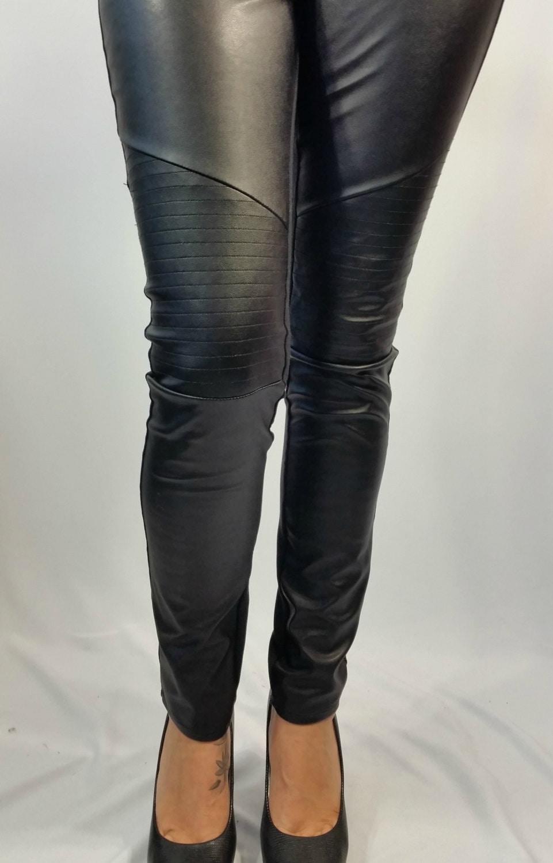 Black Long Faux Leather Leggings Women Stretch Leggings