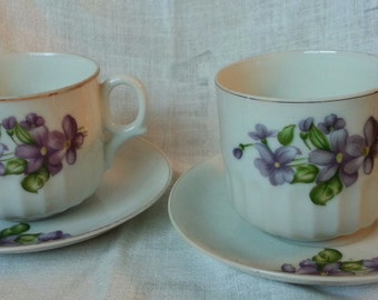 Two Teacup & Saucer Sets with Violets and Gold Embelishments Made in Japan
