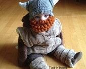 Baby Viking Hat with Beard -  Crochet Baby Viking Hat with detachable beard - Beard Hat - Viking Beard Hat - Hat with Beard - Viking helmet