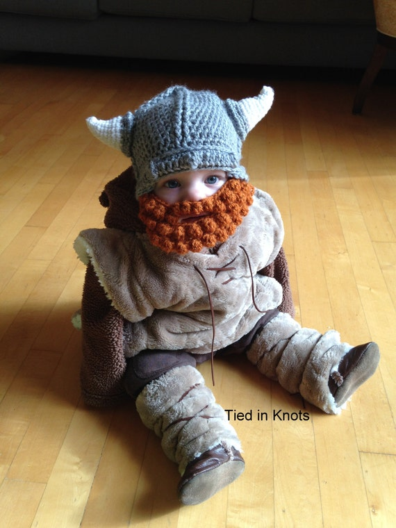 Viking Hat with Beard - Crochet Baby Viking Hat with detachable beard ...