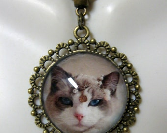 Princess kitty pendant and chain - CAP25-010