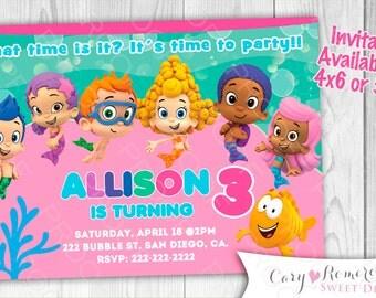 Bubble Guppies-Girl Printable Digital Invitation