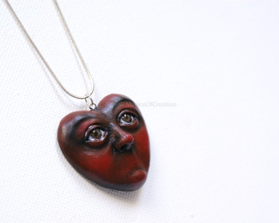 Love Is Silence, OOAK heart sculpture pendant, original art jewelry