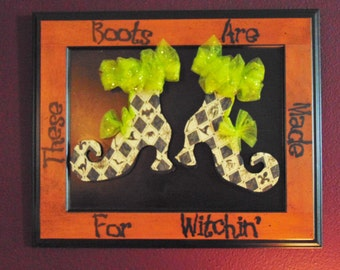 Wood Halloween Sign, Halloween Decoration, Halloween Decor, Halloween Witch Sign, Witch Boot Sign, Halloween Art, Handmade Halloween Sign