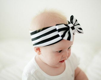 Black and White Striped Bow Headband