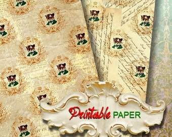 """MONSIEUR LEPARD - 2 SHEETs Printable 12""""x12""""inch size wrapping paper for Scrapbooking, Creat - Download and Print"""