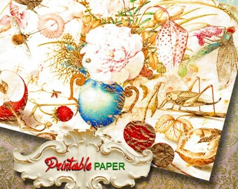 FLOWERS AND FRUITS - Printable wrapping paper Sheet for Scrapbooking, Creat - Download and Print