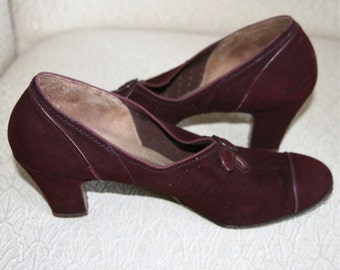 Vintage Burgundy Suede 1940's Shoes, Queen Quality, Shock Absorber Cushioned Arch,