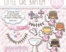 Baptism Clip art Pink Purple Little Angels Latin Afroamerican Blonde Chevron Hearts Baptism Chocolate Caramelo by Lagartixa