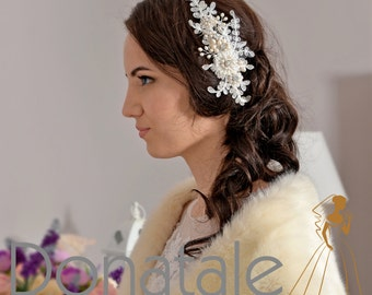 ELIANE - Wedding Hair Piece  Bridal Headpiece Pearl Headpiece Bridal Hair piece Rustic  Wedding Hair Comb Lace Headpiece