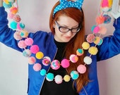 Hot Neon yarn Pom Pom Garland bunting, Mexican Spanish neon colours -add as many as you like!