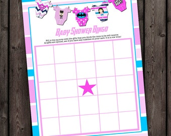 bingo, superhero girl baby shower, baby girl shower games, bingo, instant download PDF file