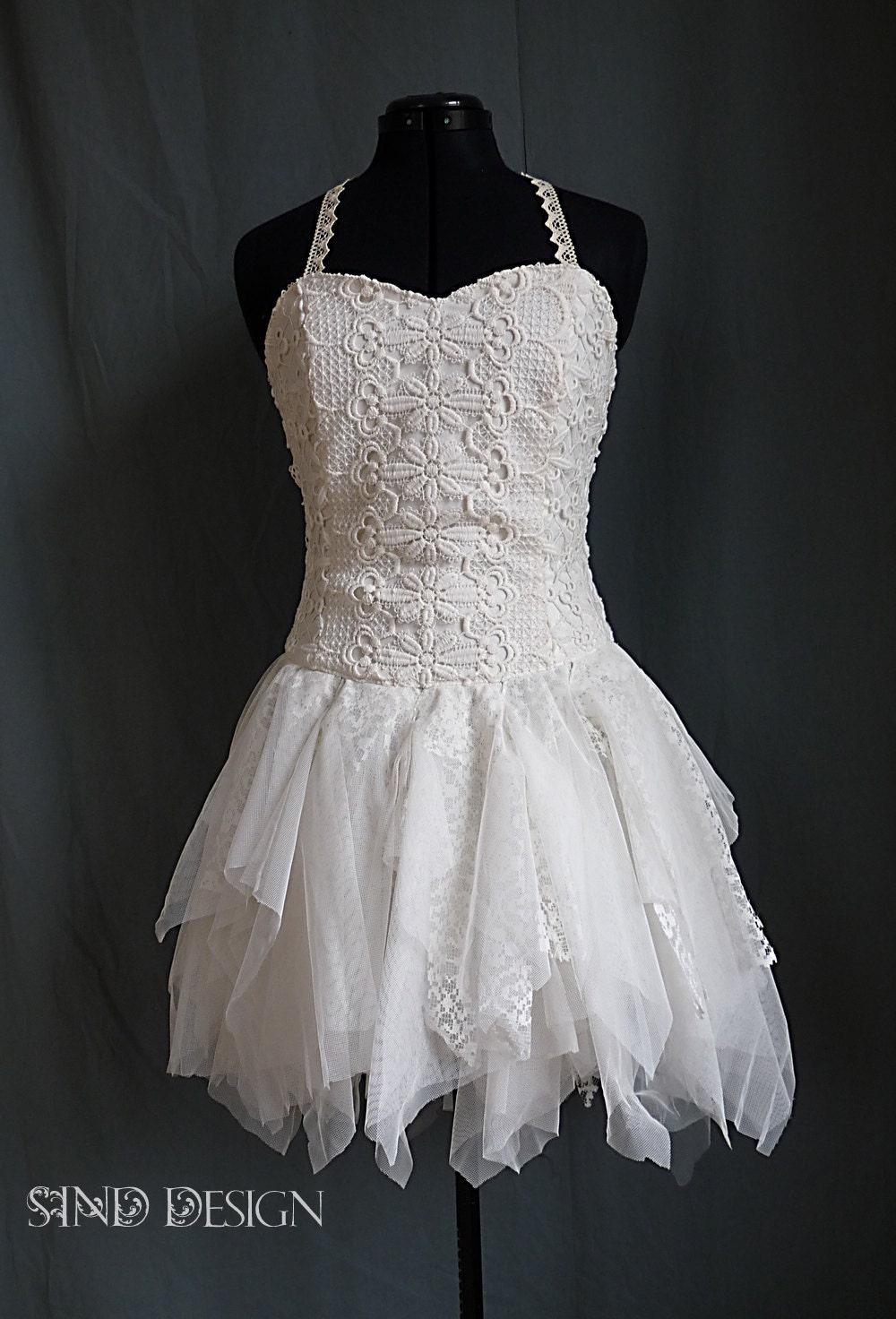 SHORT WEDDING DRESS Boho Steampunk Fairy Pixie Elven Bohemian