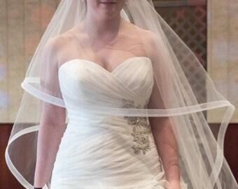 Wedding Veil- Horsehair trim Bridal Veil