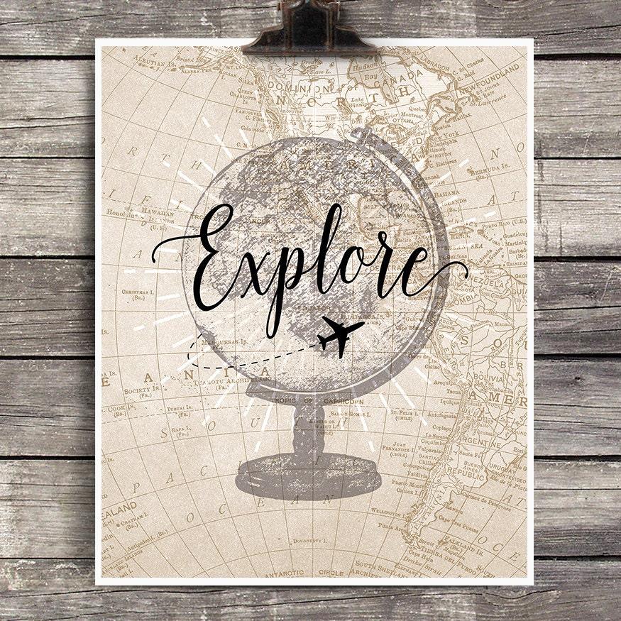vintage globe explore print vintage airplane decor explore map wall decor vintage map