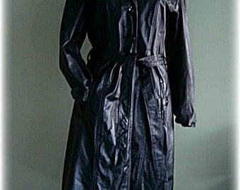Vintage Black Leather Gothic Coat