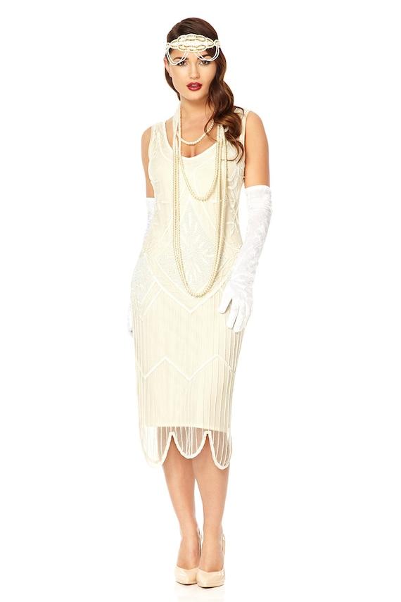 Evelyn wedding dress white vintage 1920s inspired flapper for 1920s inspired wedding dresses