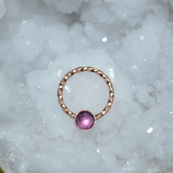 3mm Amethyst Nipple Ring - Gold Septum Jewelry - Septum Ring 20g - Nipple Piercing - Nipple Jewelry - Septum Piercing - Tragus Earring