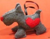 Grey Eco felt Scottish Terrier ornament; Wall / Door Hanging, Christmas tree ornament; grey, red, black, hand stitched