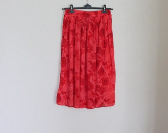 Red Summer Skirt Elastic Waist Midi Flower Floral High Waisted Medium Size