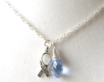 Periwinkle Awareness Ribbon  Hope Survivor Silver Ribbon Pendant Necklace You Choose Ribbon Design