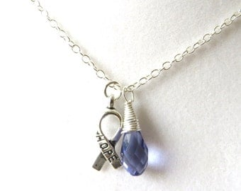 Purple Awareness Ribbon  Hope Survivor Silver Ribbon Pendant Necklace You Choose Ribbon Design