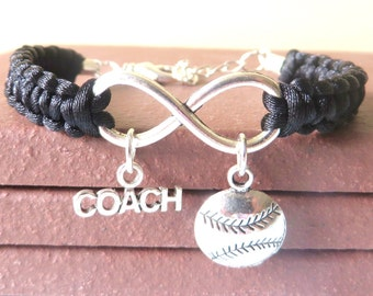 Softball Baseball Coach Athletic Charm Infinity Bracelet Coach Charm You Choose Your Cord Color(s)