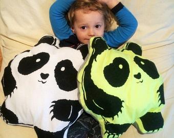 Screen Printed Panda Pillow, Children Kid Graphic Design Pillow, Eco Friendly Plush