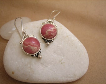 Rhodochrosite Earrings Sterling Silver Handmade Semi Precious Gemstone Jewel Birthstone