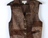 Brown Patterned Velvet Vest Vintage Women Classic Formal Waistcoat Edwardian Victorian Renaissance Steampunk Large Size