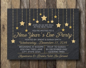 New Year's Eve Party Invitation - New Year's Party Invite - New Year's Eve Invitation - New Years Eve Party - New Years Eve Invitation