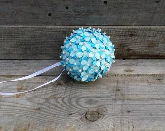 Blue Paper Flower Pomander, Rustic Wedding Pomander, Flower Girl Pomander, Paper Flower Centerpiece, Baby Bridal Shower Decor