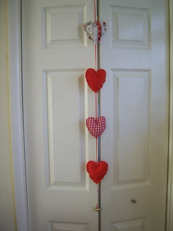Decorative Wall Hanging Hearts : Hanging fabric hearts door wall home decor by