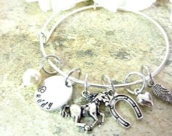 Horse memorial bracelet Pet memorial jewelry Personalized Horse Memorial Bracelet horseshoe Expandable Hand stamped Jewelry