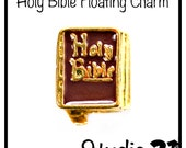 Brown and Gold Holy Bible Floating Charm for Floating Locket Jewelry. Beautiful charm for a religious or faith based locket set.