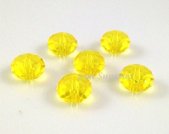 5040 CITRINE 8mm Swarovski Crystal Donut Rondelle Spacers 6pieces Canary Yellow