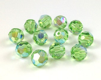 8mm PERIDOT AB 5000 Swarovski Crystal Faceted Round Beads 12 pieces