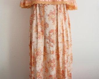 60's/70's Peach Maxi Dress