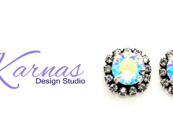 CRYSTAL AB 8mm Crystal Chaton Halo Stud Earrings Made With Swarovski Elements *Antique Silver *Karnas Design Studio *Free Shipping*