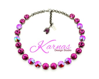 FUCHSIA SHIMMER 12mm Crystal Rivoli Choker Made With Swarovski Elements *Pick Your Finish *Karnas Design Studio *Free Shipping* UNIQUE Gift