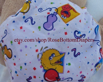 birthday sesame street cloth diaper cover, waterproof PUL, medium, large