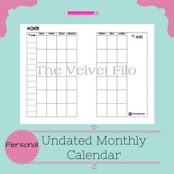 Undated Weekly Calendar : Filofax undated monthly calendar personal size by