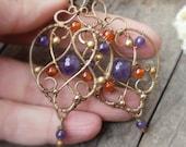 Purple and orange earings amethyst earrings Wire wrapped earrings Gypsy earrings Large  stone earrings Brass earrings Gift for her