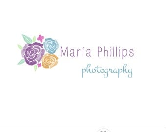 Watercolor logo design, flower logo photography, business branding, colorful roses