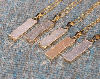 SALE Druzy Bar Necklace Handmade Agate Drusy Geode Necklace wedding party birthday jewelry DJ-052