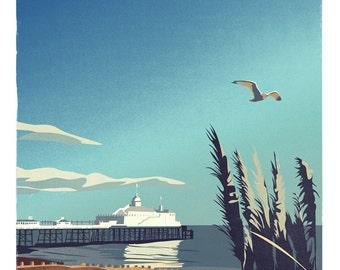 Eastbourne Pier retro print (a3)