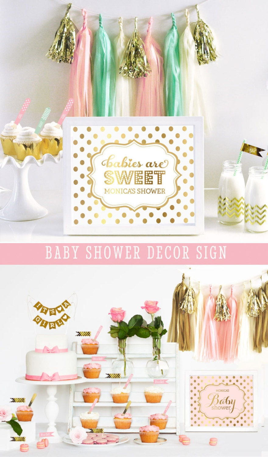 Baby Shower Themes Gold ~ Pink baby shower decorations gold themes for