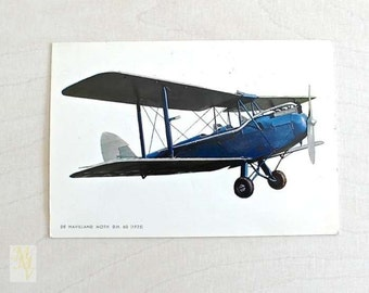 Airplane Postcard, Biplan, De Havillan Moth DH-60, Unused, Aviation, postcard collector