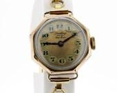 Ladies 1930s Rolex Dunklings Wrist Watch 9K Gold