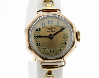 Ladies 1930s Rolex Dunklings Wrist Watch 9K Gold